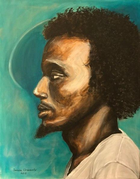 """Blue guy. Acrylic on canvas, 22""""x28"""""""