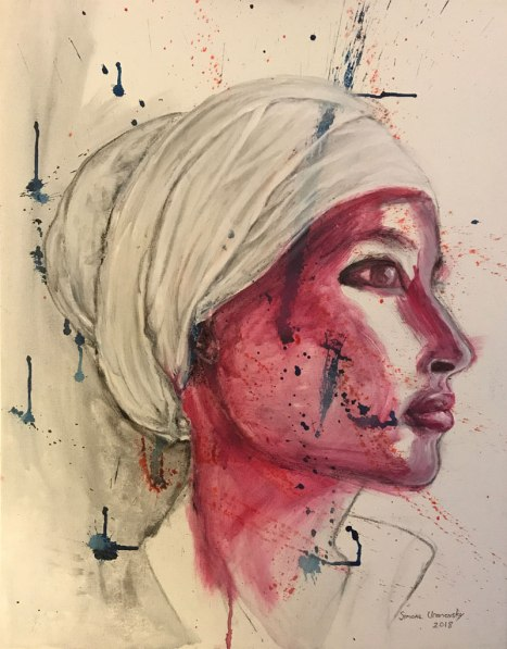 "IlhanOmar, @ilhanMN. Acrylic & charcoal on canvas, 22""x28"""