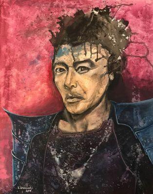 """Samurai. Acrylic on canvas, 22""""x28"""""""